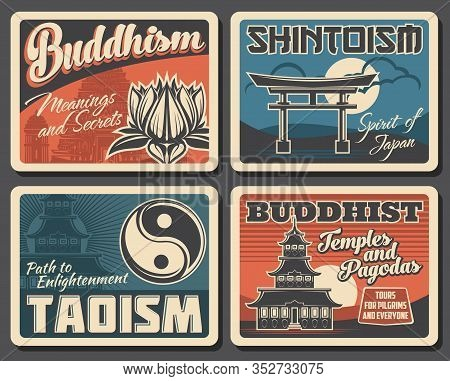 Japanese Buddhism, Shintoism And Taoism Religion Vector Vintage Posters. Japanese Buddhist Religious