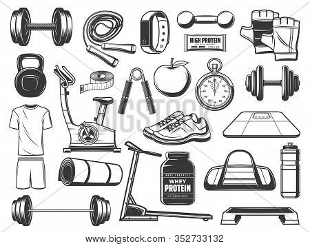 Fitness And Gym Equipment, Sport Items Vector Icons. Dumbbells, Barbell And Bottle, Weight Scales, T