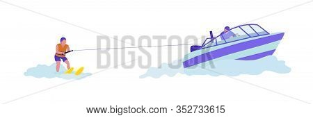 Woman Doing Water-skiing Flat Vector Illustration. Brave Girl Doing Extreme Water Sports. Beach Acti