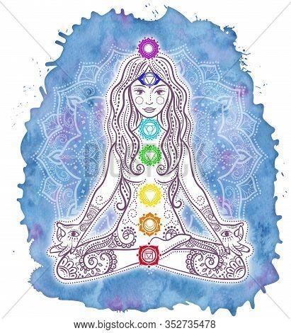 Woman Doing Yoga Sitting In Lotus Pose