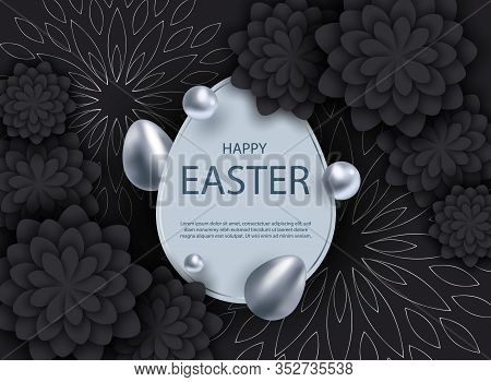 Happy Easter, easter bunny, easter background, easter banners, easter flyer, easter design,easter with flowers on red background, Copy space text area, vector illustration. Vector Easter illustration of silver and black abstract texture. Minimalistic blac