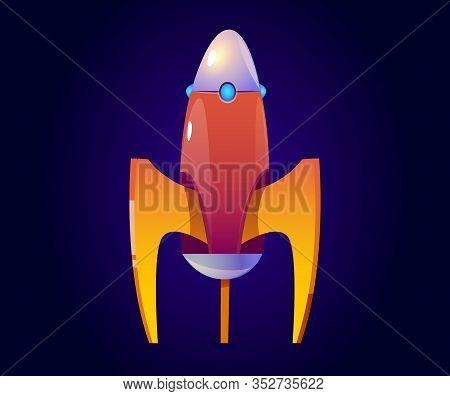Vector Rocket, Orange Spaceship Isolated On Blue Background. Vector Cartoon Futuristic Design Of Shu