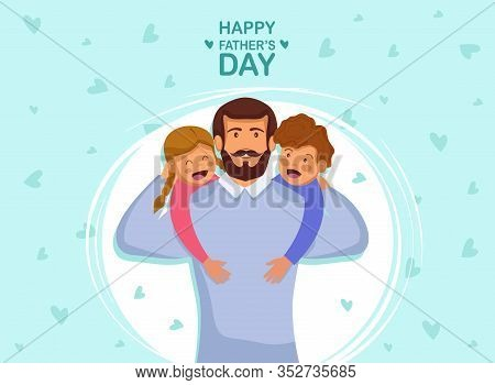 Greeting card Happy Fathers Day. Vector illustration of a flat design - stock vector. Happy fathers day template design. Cartoon photo of father, red-haired son and daughter hugging together. Happy International Father's Day. Dad. Father's Day. Father's D