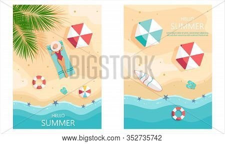 Set of summer gift certificates. Set of summer gift certificates.Hello Summer, summer time, summer day, summer day background, summer banners, summer flyer, summer design, summer with people in the pool, vector illustration. Eps10 vector illustration