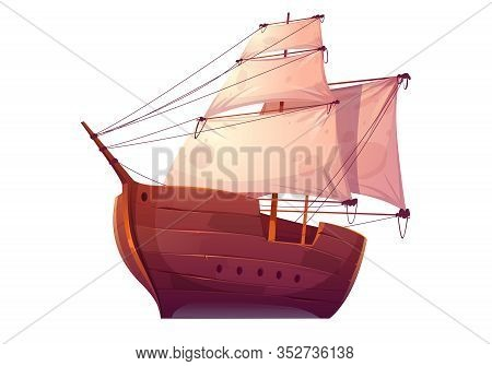 Vector Wooden Boat With White Sails. Pirate Or Merchant Ship With Blank Canvas. Cartoon Old Wooden F