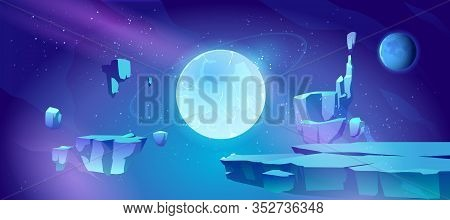 Space Background With Landscape Of Alien Planet With Craters And Cracks. Vector Cartoon Fantasy Illu
