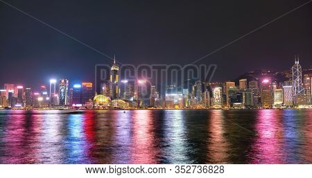 HONG KONG, CHINA - CIRCA JANUARY, 2019: Wan Chai and Central as seen from Victoria Harbour at night.