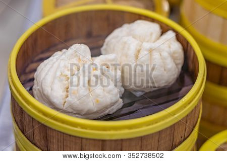 Chinese Steamed Dumpling In Dimsum Traditional Bamboo Container