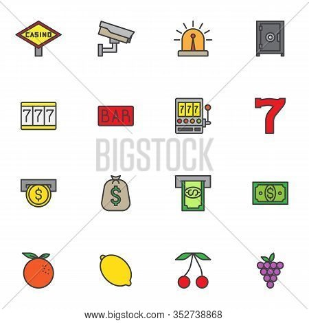 Gambling, Casino Filled Outline Icons Set, Line Vector Symbol Collection, Linear Colorful Pictogram