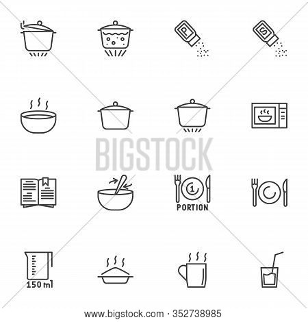 Cooking And Preparation Line Icons Set. Linear Style Symbols Collection, Cooking Instructions Outlin