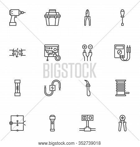 Electrician Tools Line Icons Set. Linear Style Symbols Collection, Outline Signs Pack. Vector Graphi