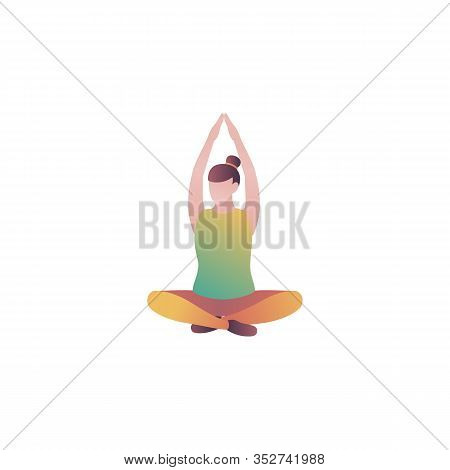 Girl Meditates In The Gym, Flat Vector Illustration. A Woman Sits In A Lotus Pose And Relaxes In The