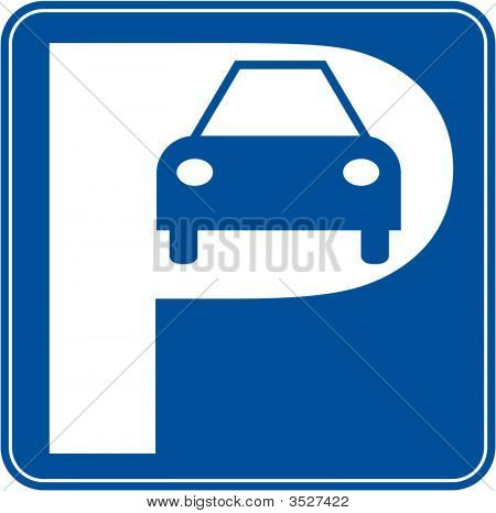 blue and white car parking sign - illustration poster