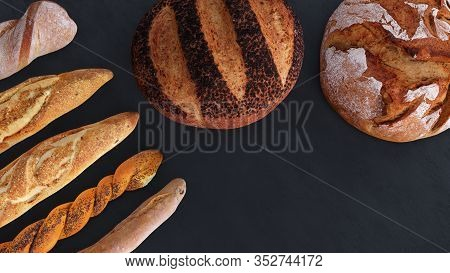 Different Types Of Bread And Rolls In The Top View. Kitchen Or Bakery Poster Design On Dark