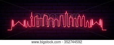 Red Neon Skyline Of Istanbul City. Bright Istanbul Long Banner. Vector Illustration.