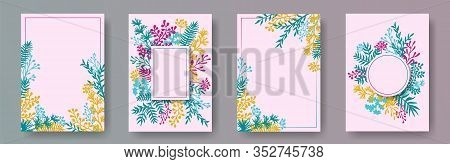 Botanical Herb Twigs, Tree Branches, Flowers Floral Invitation Cards Templates. Herbal Corners Moder