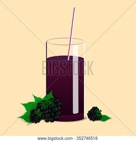 Fresh Black Berry Juice. Berry Juice On A Light Background. Black Berry Juice Vector Illustration. F