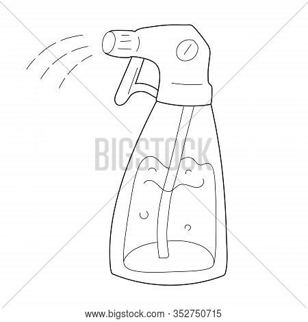 Water Sprayer Doodle Illustration, Plastic Bottle Pulverizer For Housework And Watering Plants, Tool