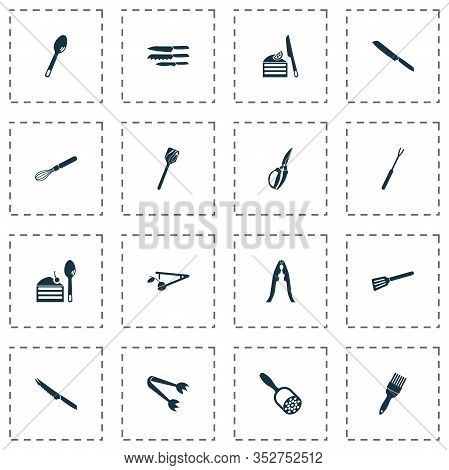 Utensil Icons Set With Bread Knife, Turner, Tableware And Other Utensil Elements. Isolated Vector Il