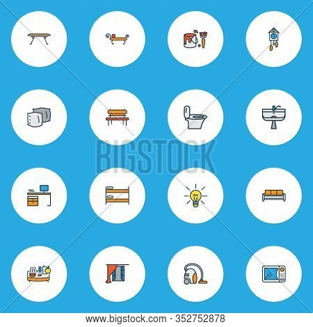 Decor Icons Colored Line Set With Buffet, Vacuum Cleaner, Pillow And Other Sofa Elements. Isolated I