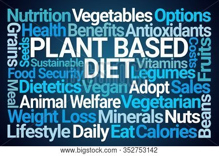 Plant Based Diet Word Cloud on Blue Background