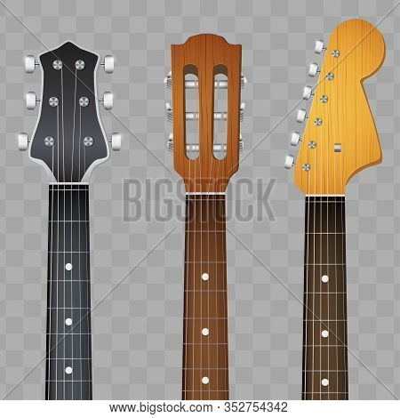 Set Of Electro And Acoustic Guitars Neck Fretboard And Headstock. Vector Illustration Isolated On Tr