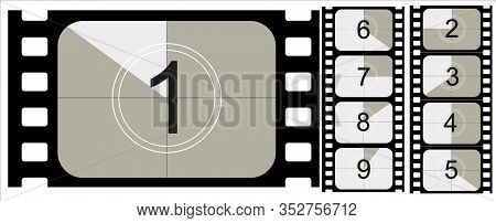 Movie Countdown, Vintage Silent Film And Blank Full Frame Still Photography Film Realistic Thirty Fi