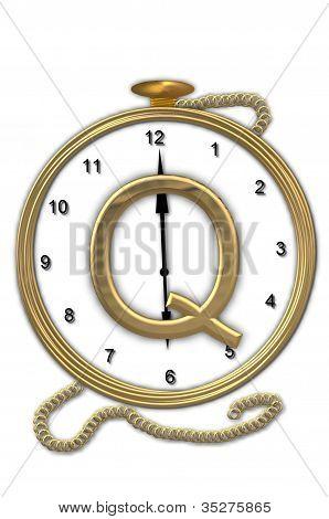 Alphabet Pocket Watch Q