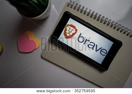 Bekasi, Indonesia. February 26, 2020 : Brave Browser: Fast Adblocker Dev Application On Smartphone S
