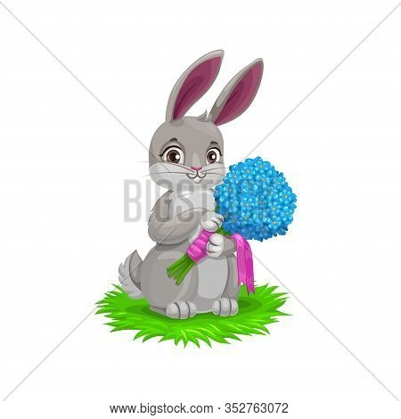 Easter Bunny With Flower Bouquet, Vector Easter Holiday Egg Hunt Party. Cartoon Hare Animal Holding