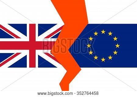 Vector Brexit Illustration. Flag Of England And European Union. Flag Brexit. Symbol Of Brexit. Uk Af