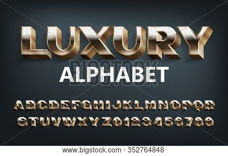 Luxury Alphabet Font. 3d Golden Dotted Letters And Numbers. Stock Vector Typeset For Your Design.