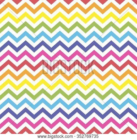 Rainbow Seamless Zigzag Pattern, Vector Illustration. Chevron Zigzag Pattern With Colorful Lines. Re