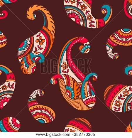 Colorful Seventies Retro Outline Hand Drawn Paisley Vector Seamless Pattern. Bright Flower Power Fem