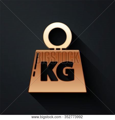 Gold Weight Icon Isolated On Black Background. Kilogram Weight Block For Weight Lifting And Scale. M