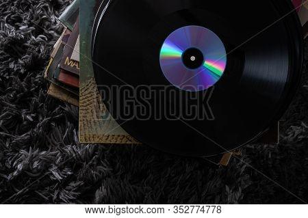 Beautiful Vinyl Records In A Dark Key Very Beautiful Vintage Artwork Headphones For Listening To Mus