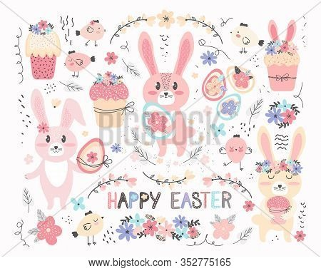 Happy Easter Collection In Vector. Set Of Cute Cartoon Characters And Design Elements. Easter Bunny,