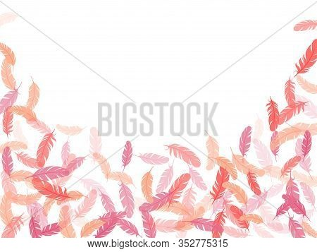 Boho Pink Flamingo Feathers Vector Background. Flying Feather Elements Airy Vector Design. Plumage F