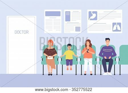 Smiling Cartoon People Sitting On Chairs Waiting Doctor Appointment At Hospital Vector Flat Illustra