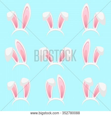 Easter Bunny Ears Stickers Collection. Set Of Masks Rabbit Ear Isolated On Blue Background. Vector I