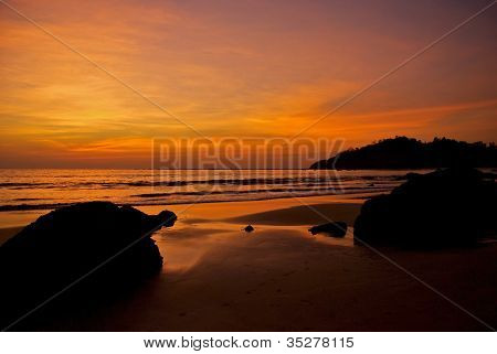 sunset over the Bay of Bengal