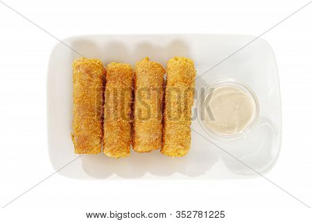 Hot Appetizer Cheese Sticks In Crispy Golden Breaded, Fried In Oil, Mayonnaise Sauce, Tar-tar, Befor