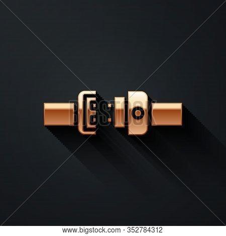 Gold Safety Belt Icon Isolated On Black Background. Seat Belt. Long Shadow Style. Vector Illustratio