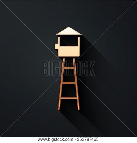 Gold Watch Tower Icon Isolated On Black Background. Prison Tower, Checkpoint, Protection Territory,