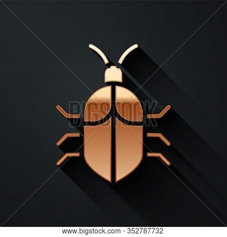 Gold System Bug Concept Icon Isolated On Black Background. Code Bug Concept. Bug In The System. Bug
