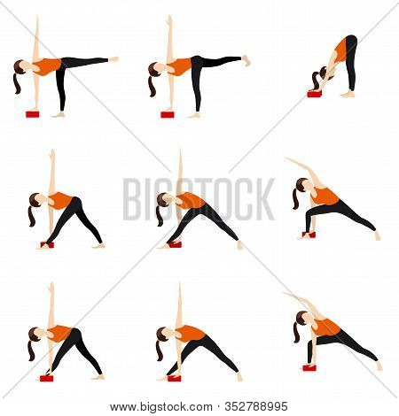 Illustration Stylized Woman Practicing Yoga Postures With Props