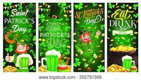 St Patricks Day Leprechaun Gold And Clover Leaves. Irish Holiday. Vector Banners Of Irishman, Patric