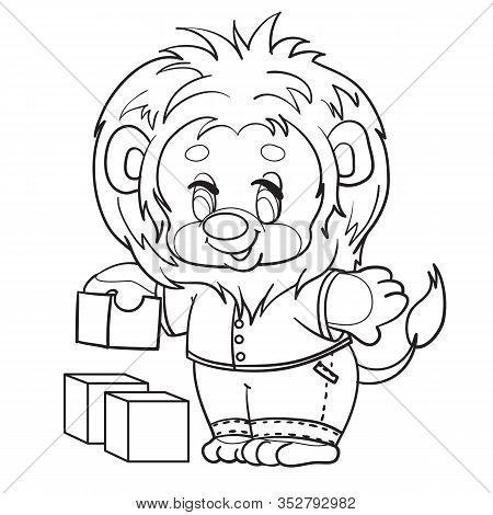 Little Lion Cub Dressed In Clothes Plays With Cubes, Outline Drawing, Isolated Object On A White Bac