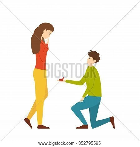 The Guy Makes A Marriage Proposal To The Girl. A Man Gives A Ring To A Woman. Cute Couple In Love. G