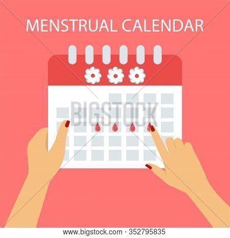 Menstrual Calendar In Flat Style, Menstrual Cycle.